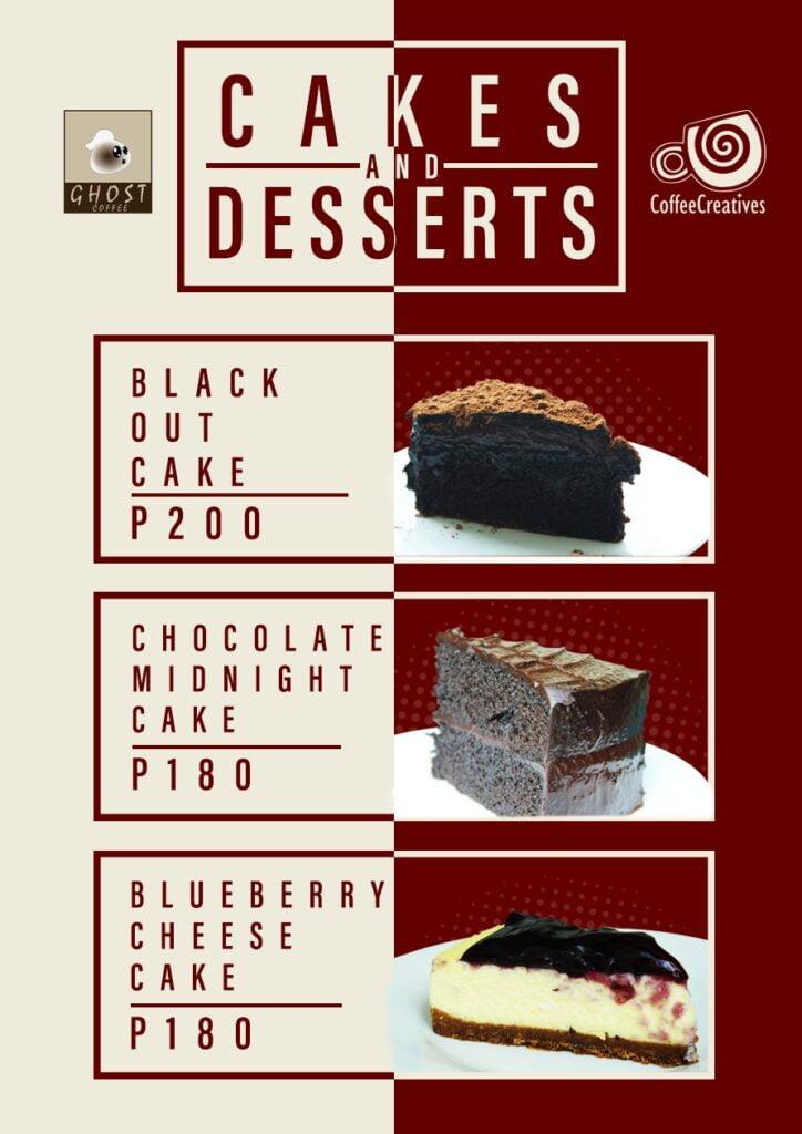 Ghost coffee menu cakes desserts