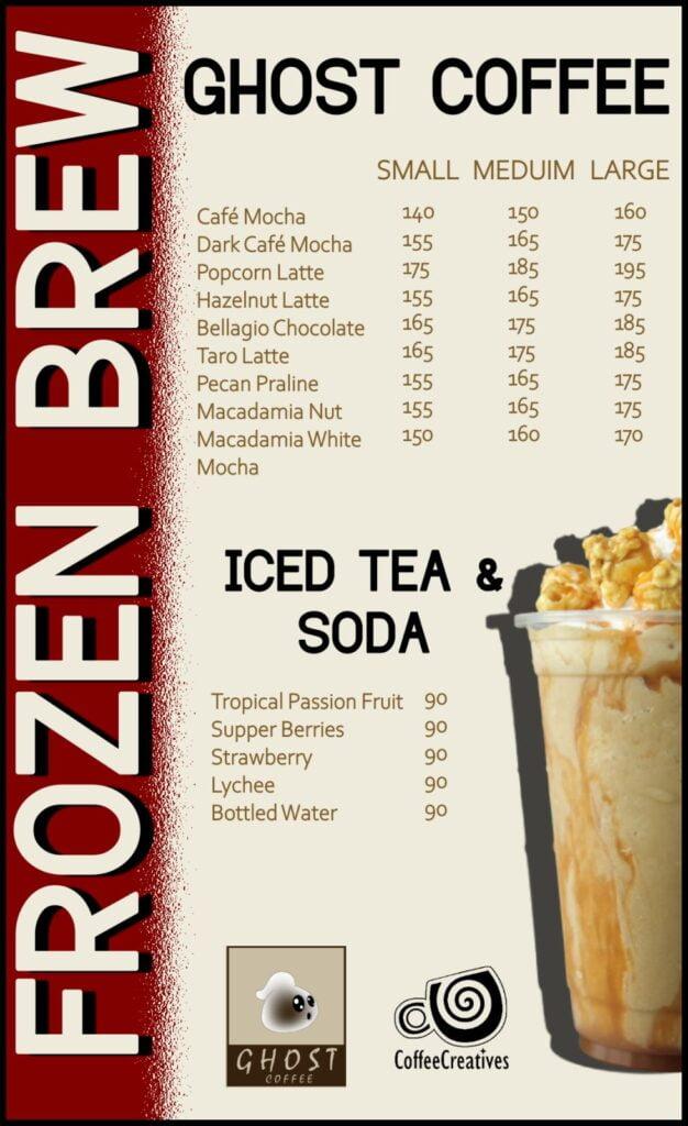 Ghost coffee menu drinks